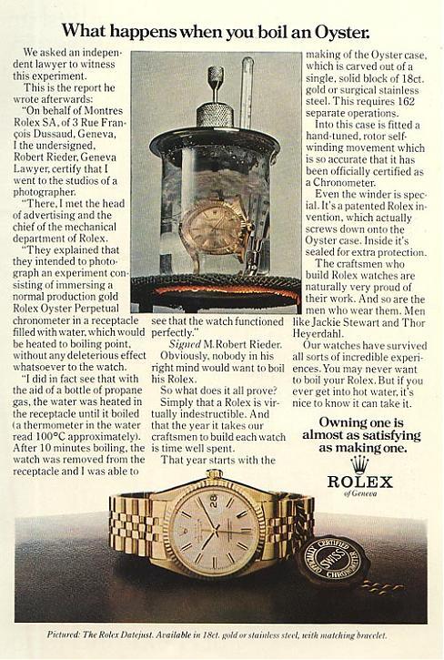 Rolex boiling advertisement