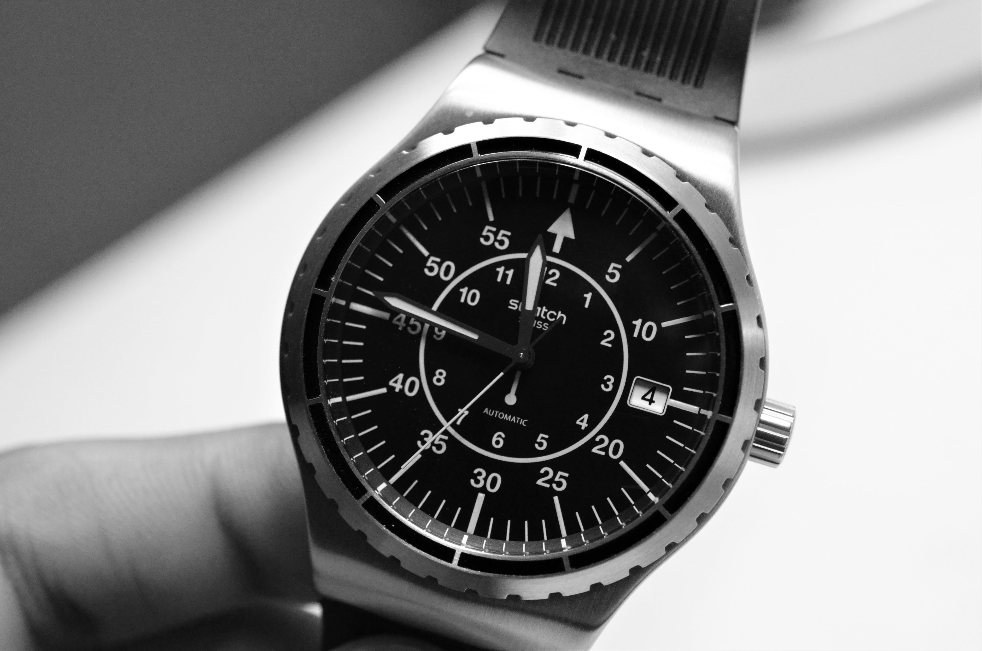 black and white dial