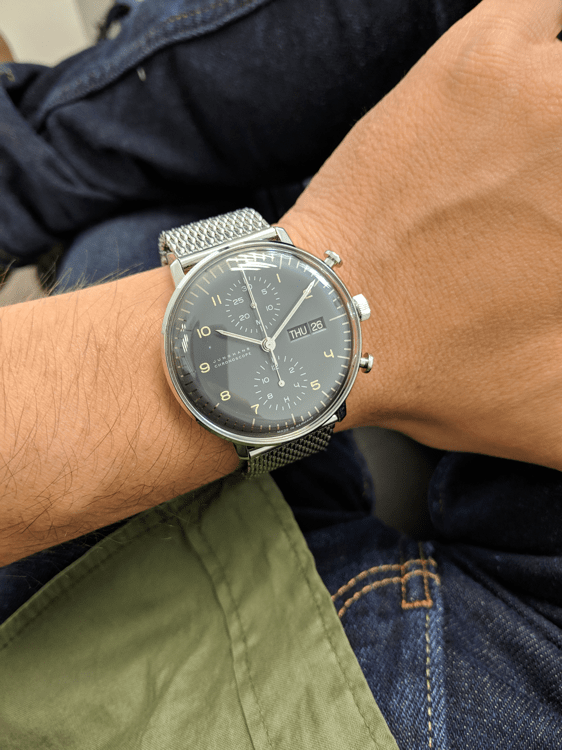 Metal bracelet on the wrist