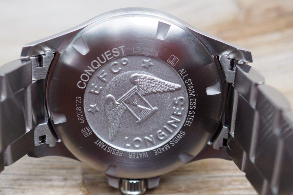 Longines logo engraved back of watch