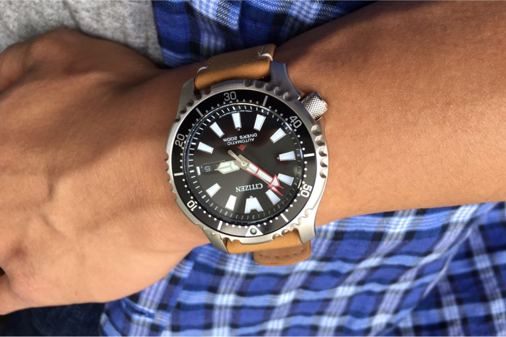 Wrist shot wearing the Citizen Fugu Watch