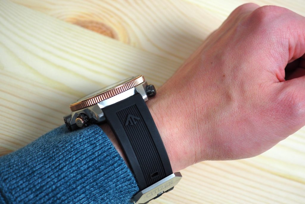 Wrist shot from the side angle