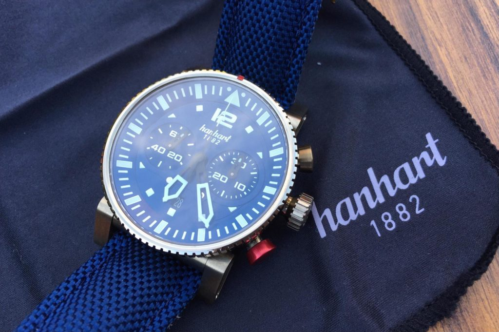 Full view of timepiece with Hanhart Logo