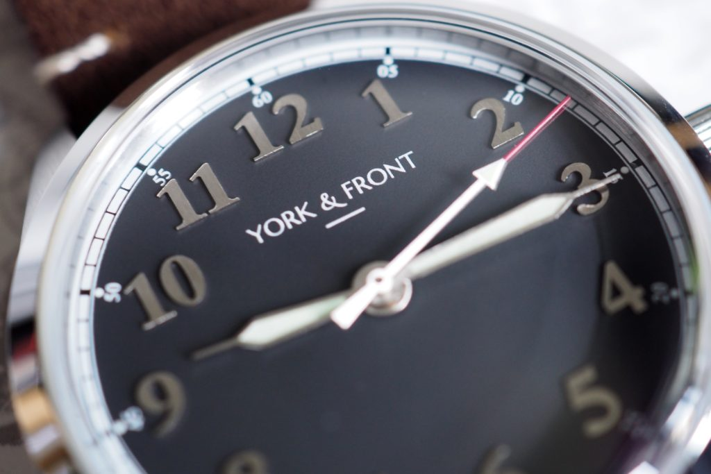 Macro of dial and York Front logo