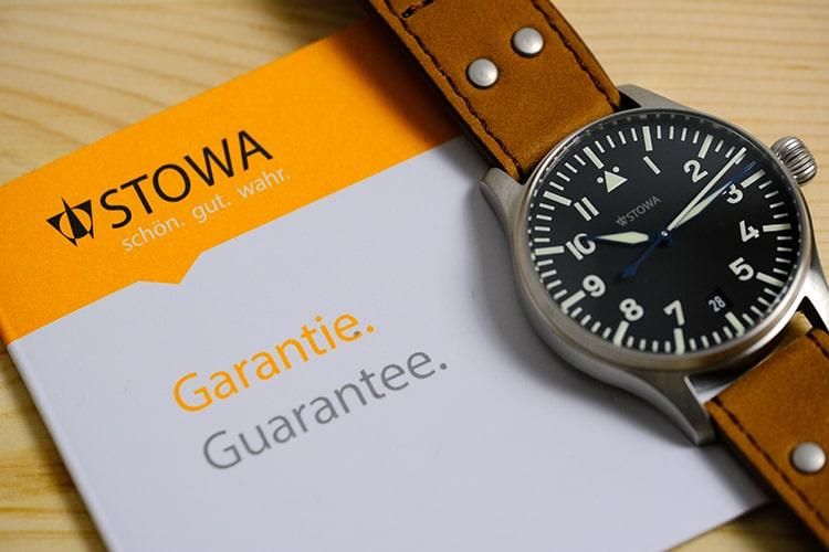Stowa yellow warranty card with watch