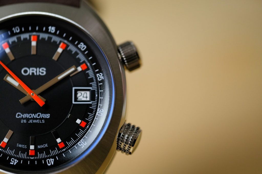 Macro of dial indices and crowns