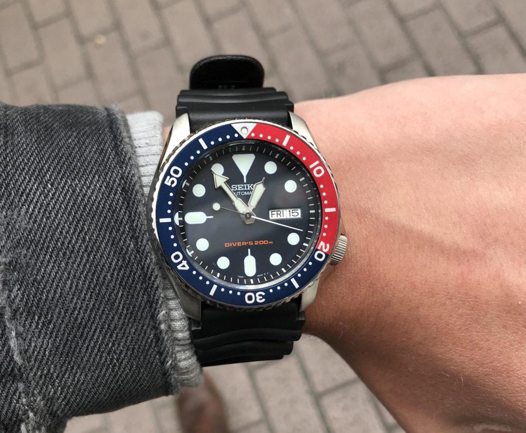 Seiko SKX009 on the wrist