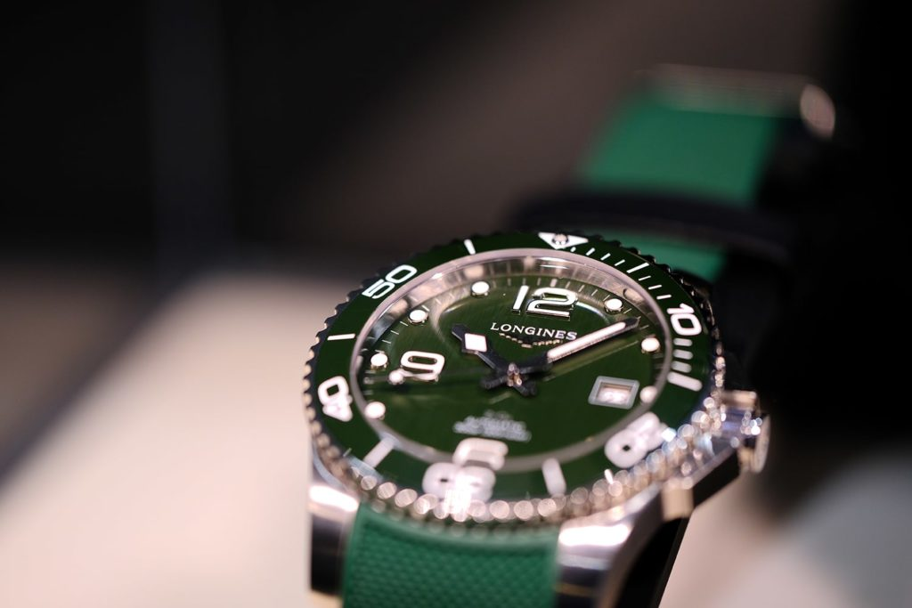 Longines L3.781.4.06.9 with green rubber strap