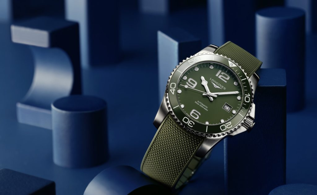 Hydroconquest green longines rubber band