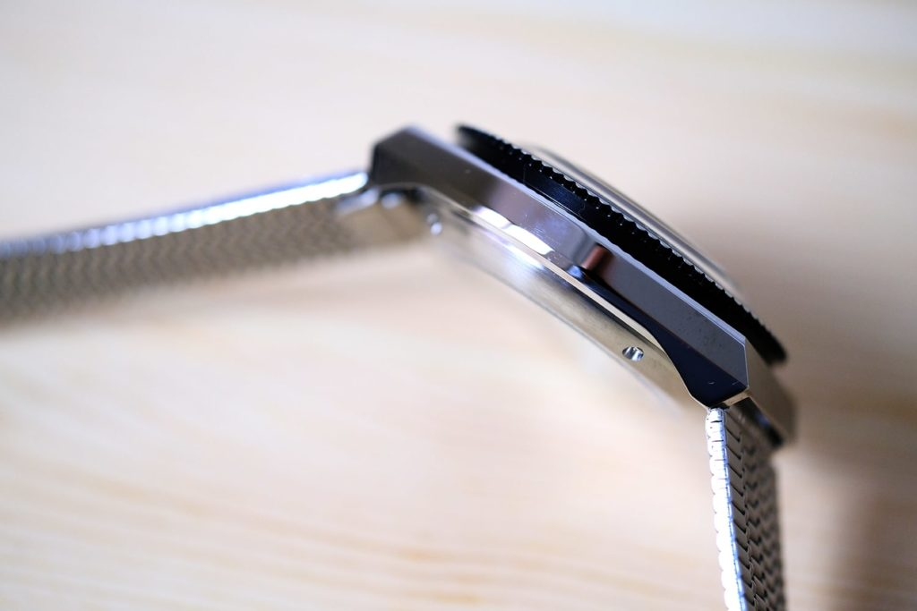View of stainless steel case