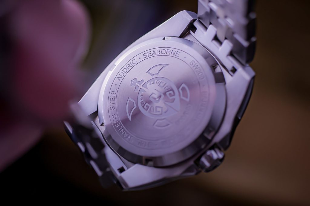 Engraved caseback with turtle