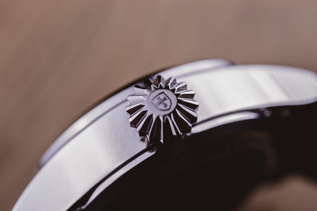 Macro of engraved crown