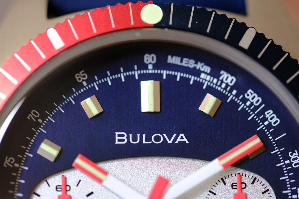 Super macro of Bulova logo on dial