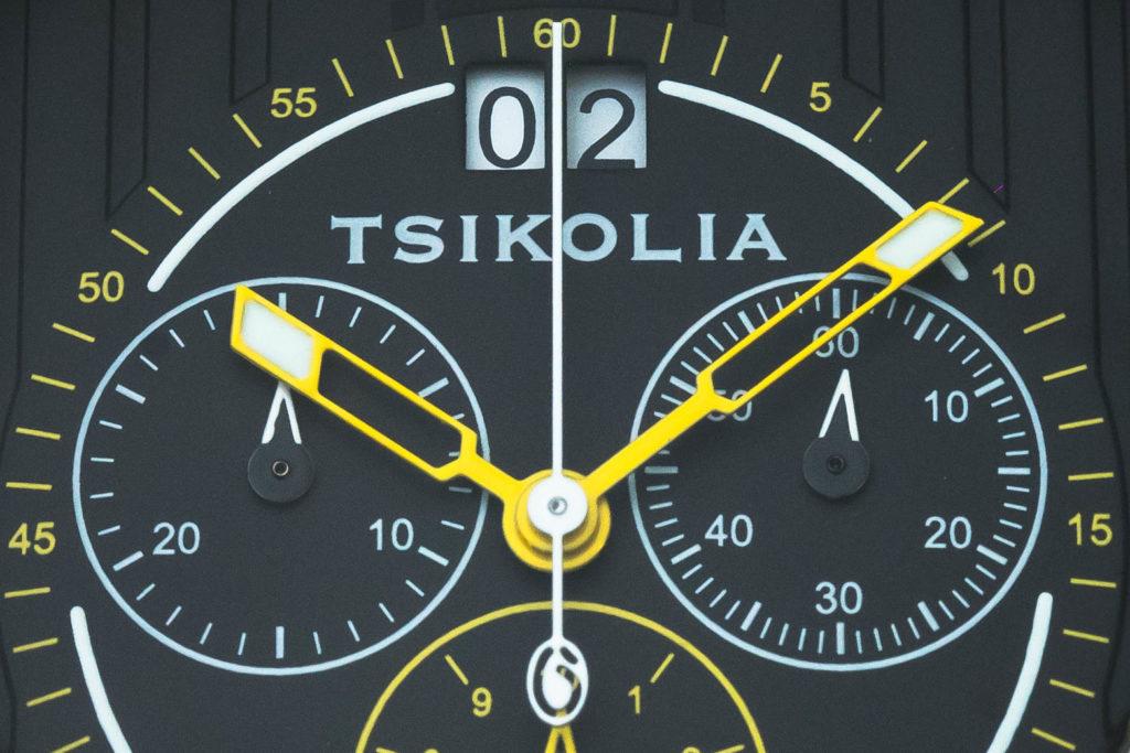 Macro of Tsikolia logo on dial