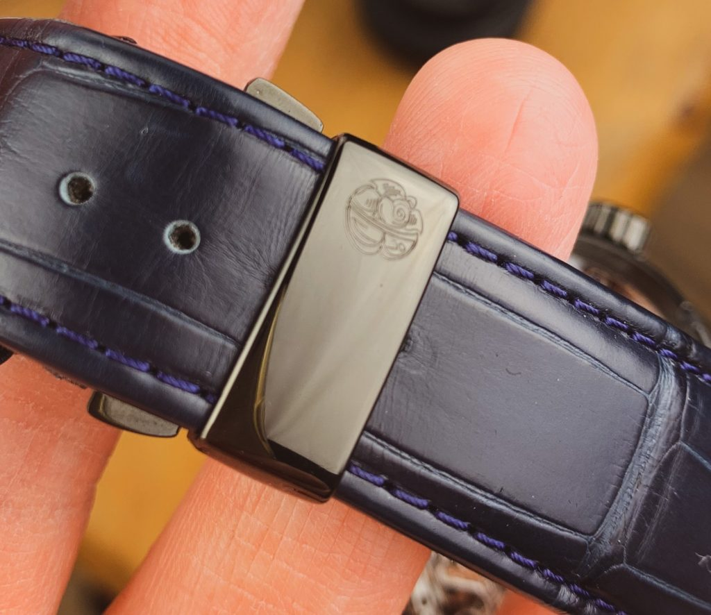 Macro of clasp on strap