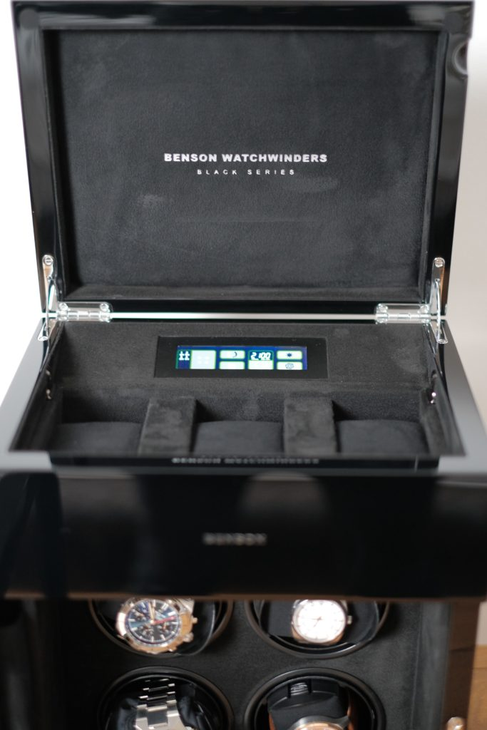 Benson logo and top compartment