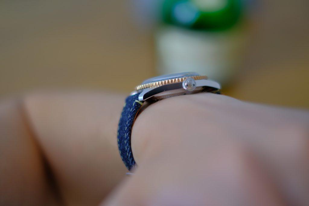Crown and lugs on wrist