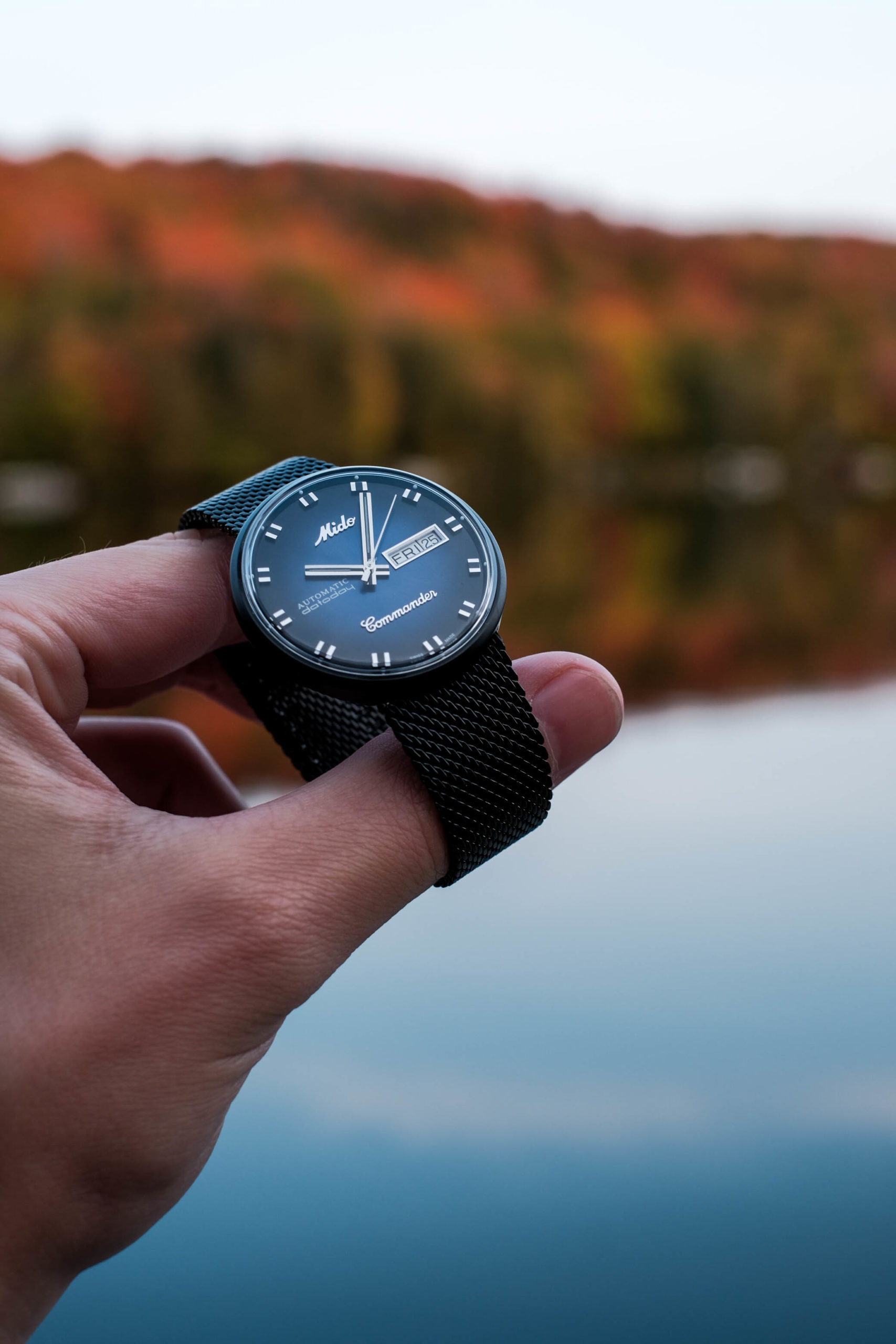 The commander blue shade with autumn backdrop