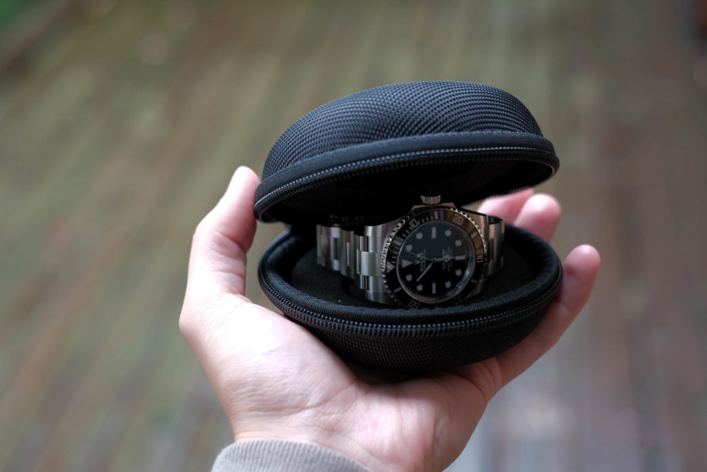 Watch travel case in the hand