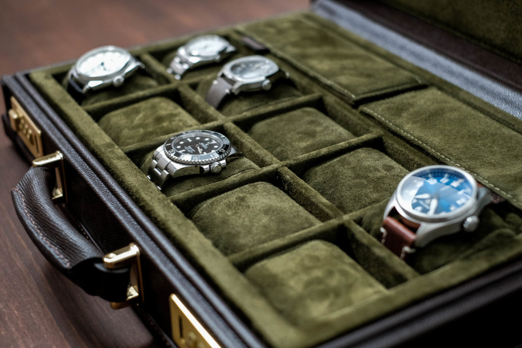 side view of watches inside case
