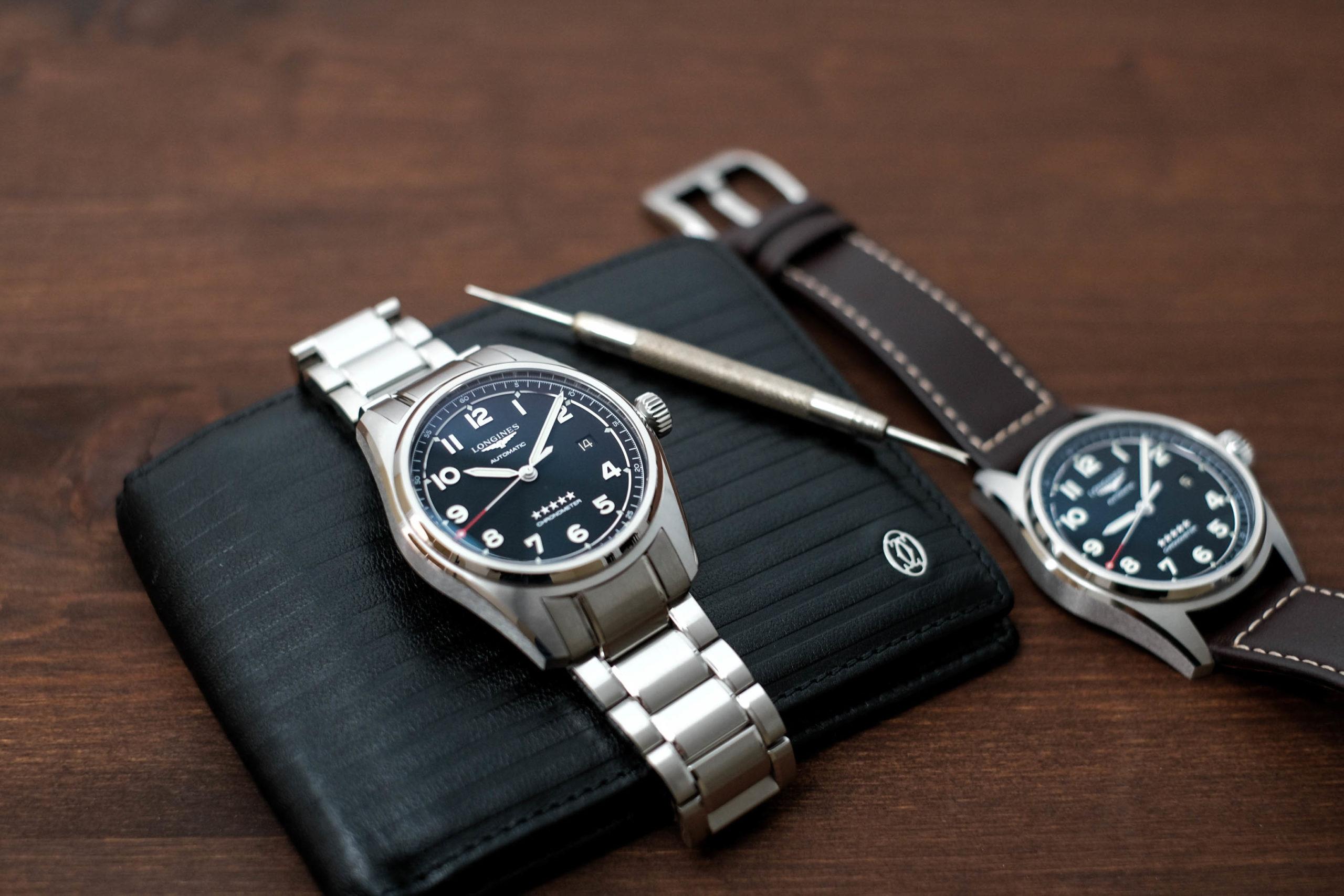 Longines Spirit on bracelet and leather band