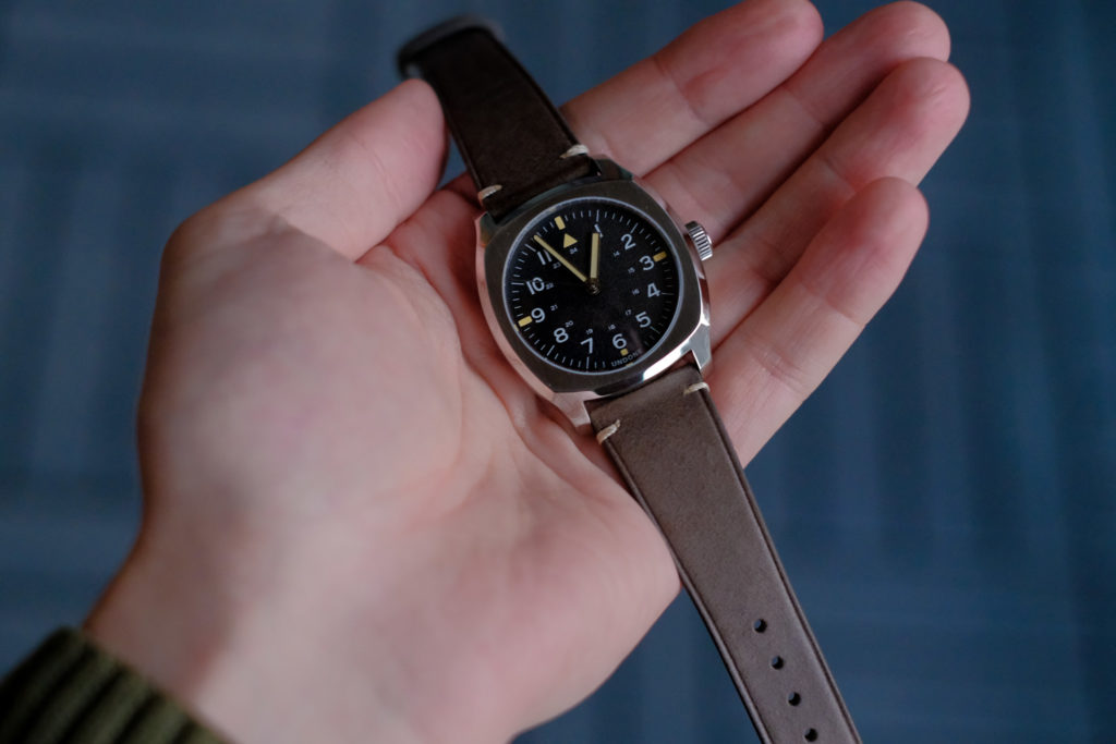 Small watch at 37mm in hand