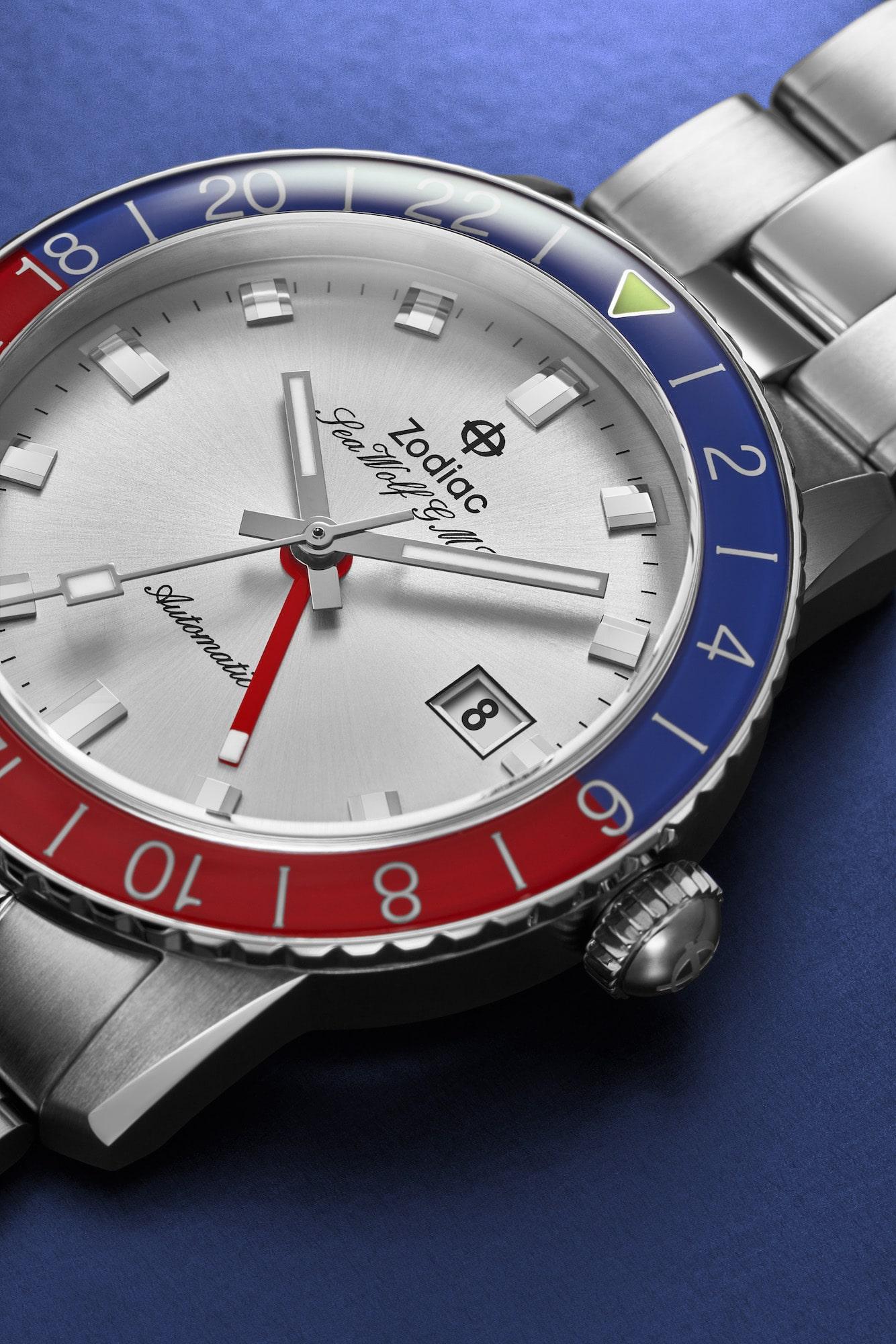 Zodiac Sea Wolf GMT Dial close up