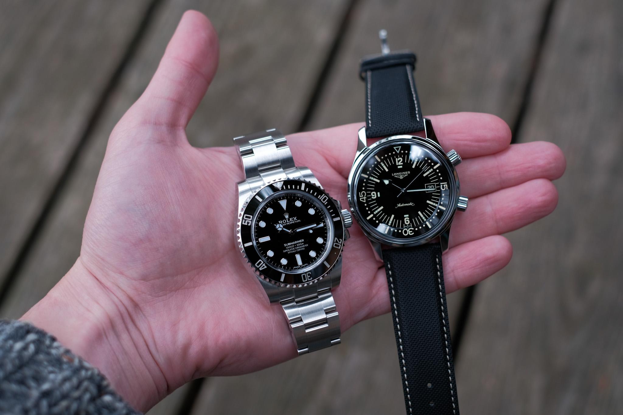 Longines Legend Diver beside the Rolex Submariner