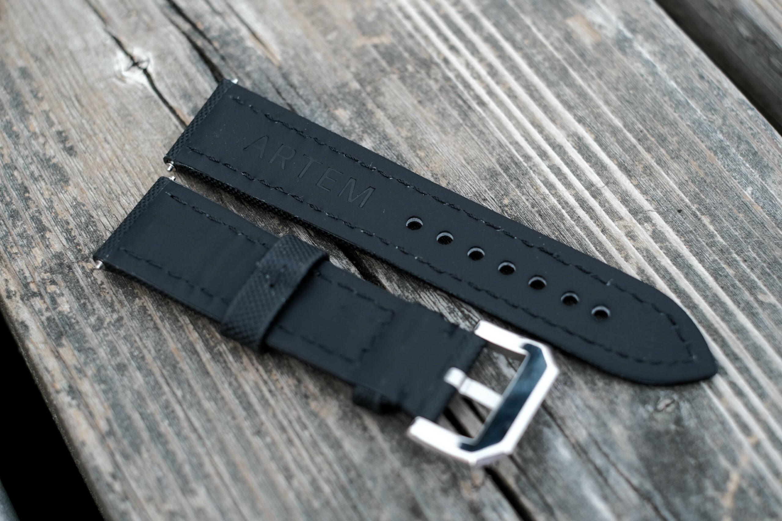 Artem logo on back of straps