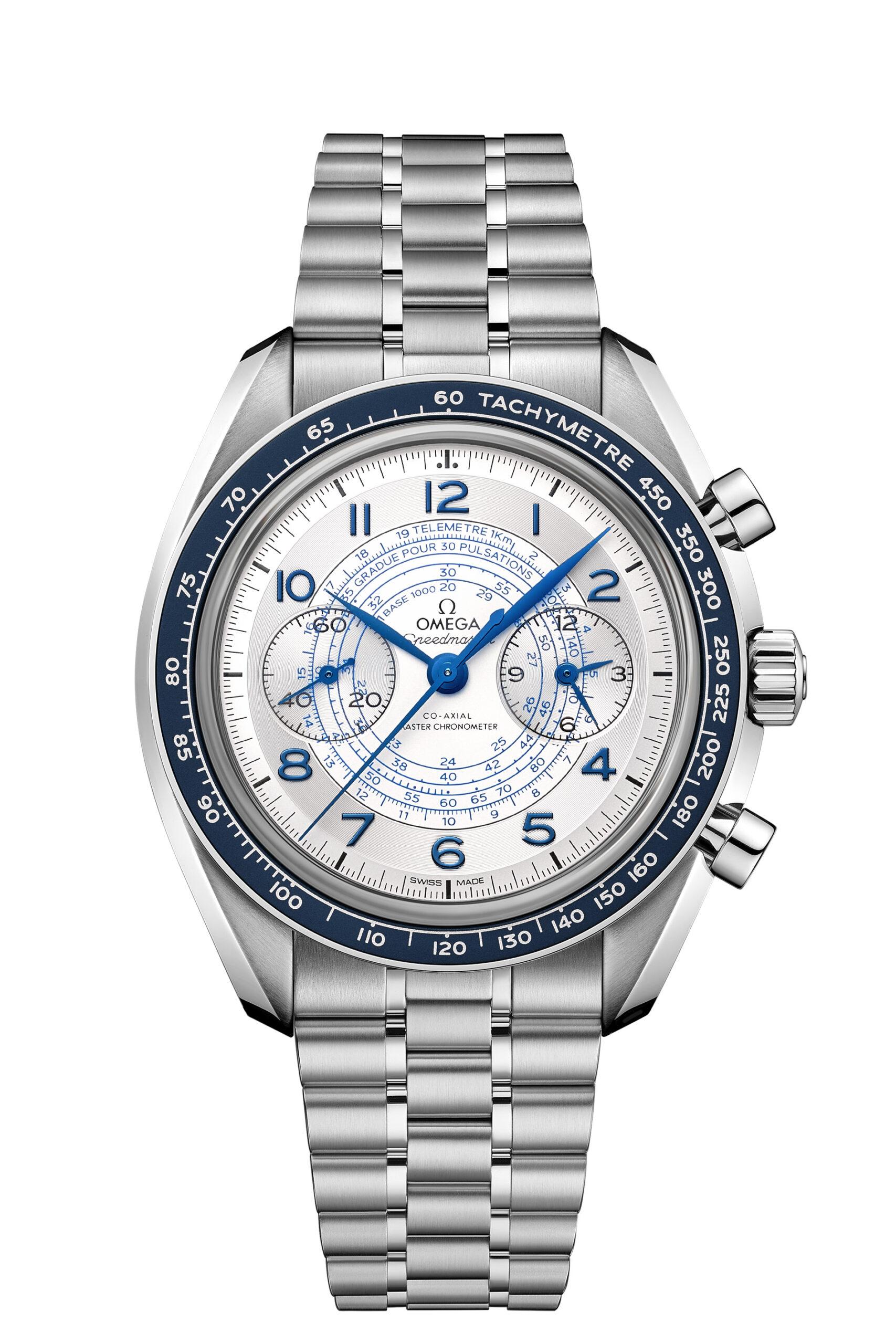Speedmaster Chronoscope with silver white dial on bracelet